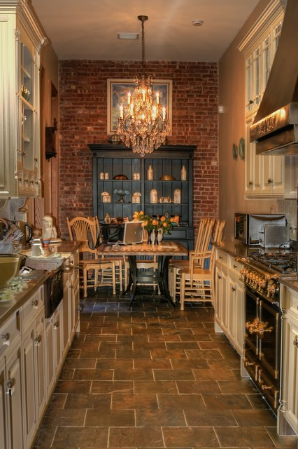 Canadel Furniture Kitchen Traditional with Brick Wall Chandelier Copper