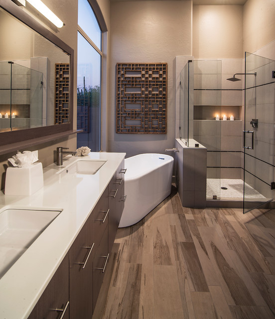 Cancos Tile Bathroom Contemporary with Beige Wall Double Sinks