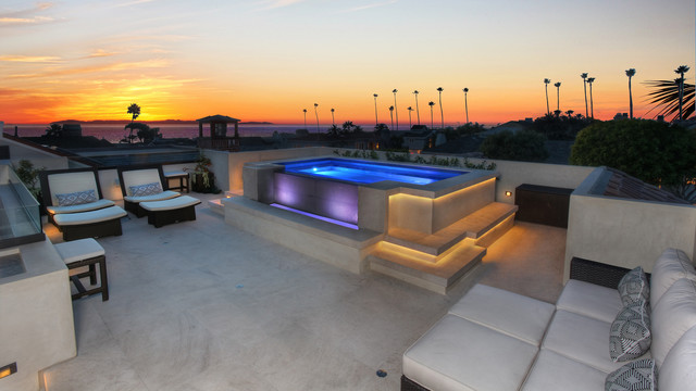 Cantoni Furniture Pool Contemporary with Beachfront Hot Tub Lounge