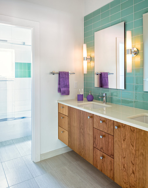Capco Tile Bathroom Contemporary with Aqua Tile Backsplash Beige