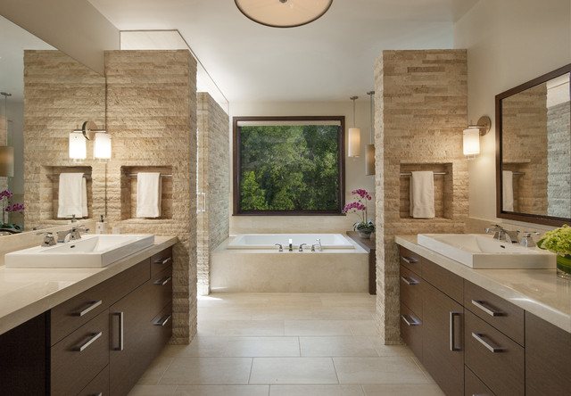 Capco Tile Bathroom Contemporary with Calm His and Hers
