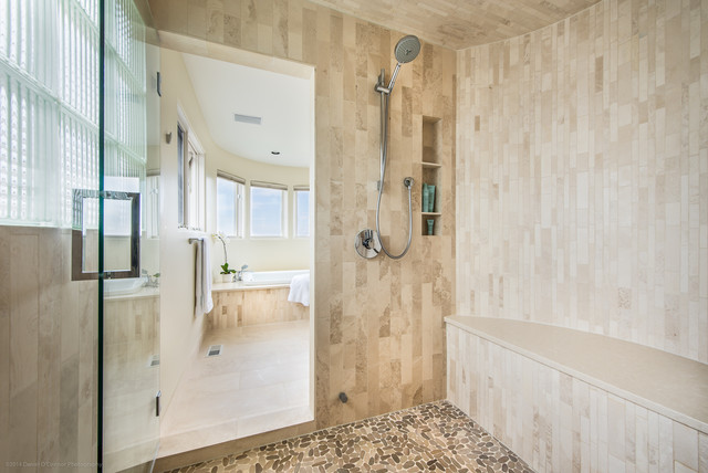 Capco Tile Bathroom Contemporary with Frameless Shower Glass Handshower