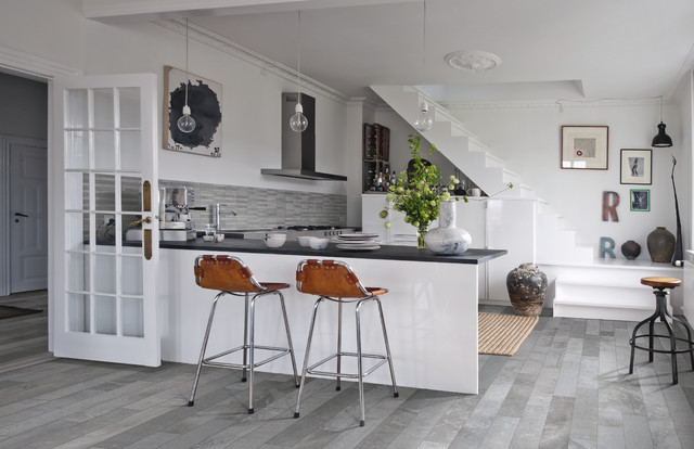 capco tile Kitchen Eclectic with gray and white gray