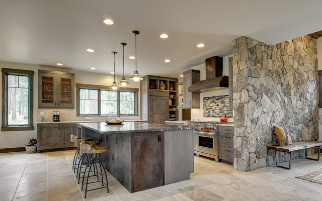 Capco Tile Kitchen Rustic with Beige Floor Tile Gray