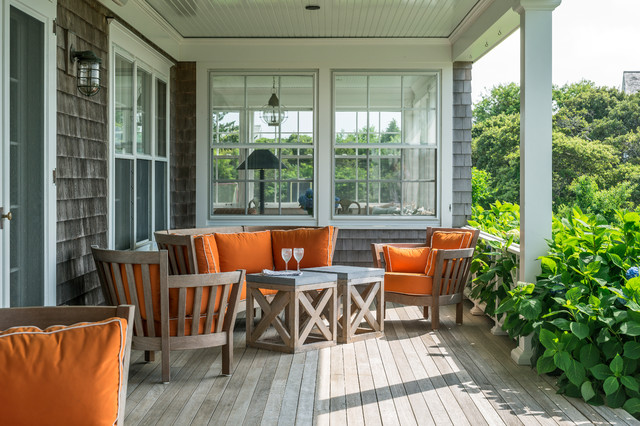Caracole Furniture Porch Beach with Orange Seat Cushions Outdoor