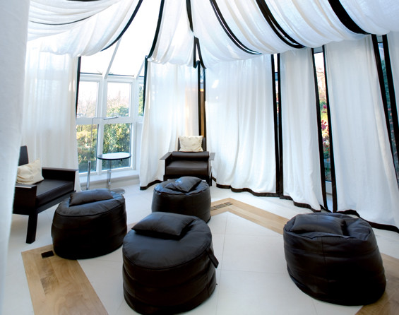 Carnival Tent Sunroom Modern with Black and White Tent