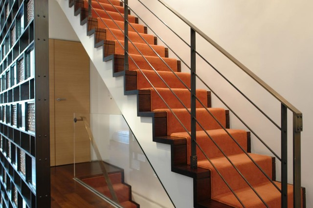 Carpet Runner for Stairs Staircase Contemporary with Axis Mundi Bronze Bronze