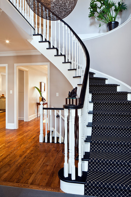 Carpet Runner for Stairs Staircase Contemporary with Baseboards Black Treads Curved
