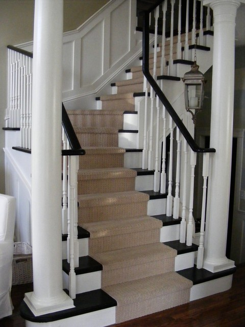 Carpet Runner for Stairs Staircase Traditional with Banister Black and White