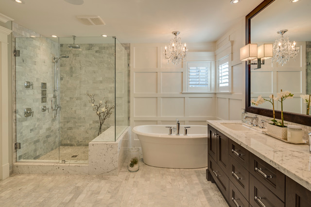 Carrera Marble Bathroom Traditional with Award Winning Builder Crystal