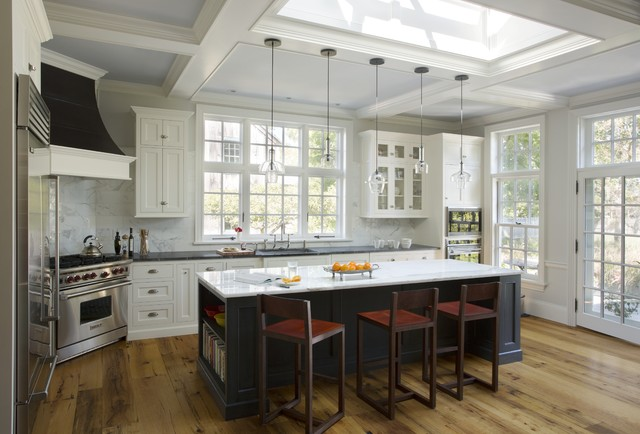 Carrera Marble Kitchen Traditional with Antique Oak Flooring Bar