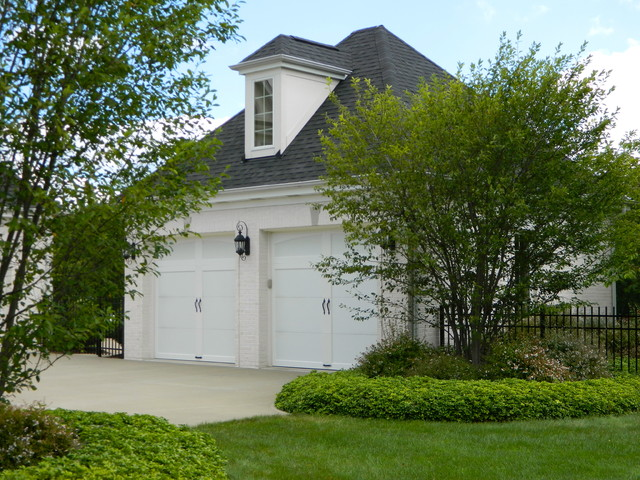 Carriage Garage Doors Garage and Shed Traditional with Beige Garage Bushes Carriage