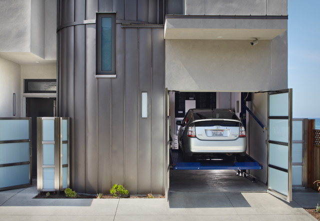 Carriage House Garage Doors Garage and Shed Contemporary with Car Lift Car Repair