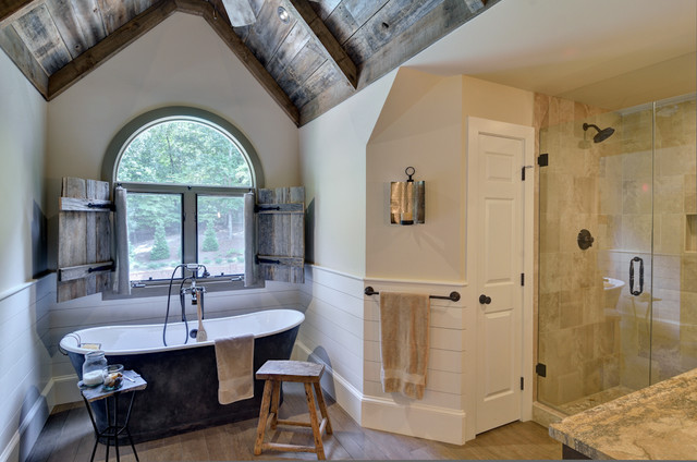 Cast Iron Tub Bathroom Eclectic with Arched Window Atlanta Contractor