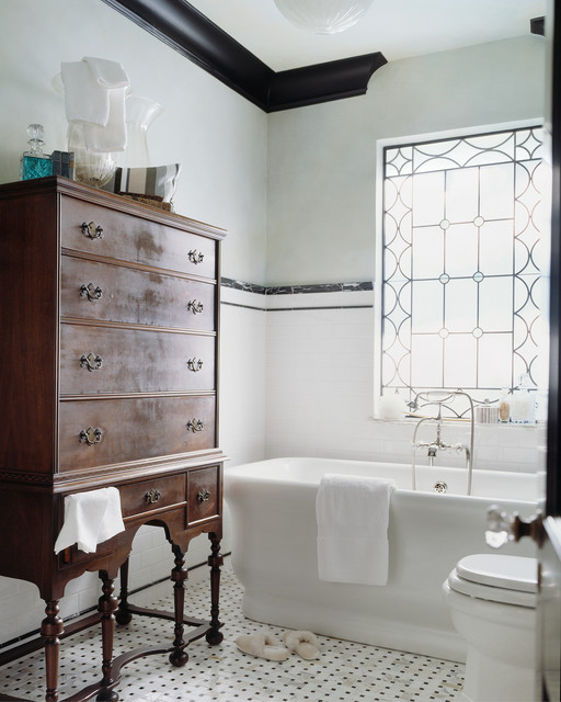Cast Iron Tub Bathroom Victorian with Accent Window Black And
