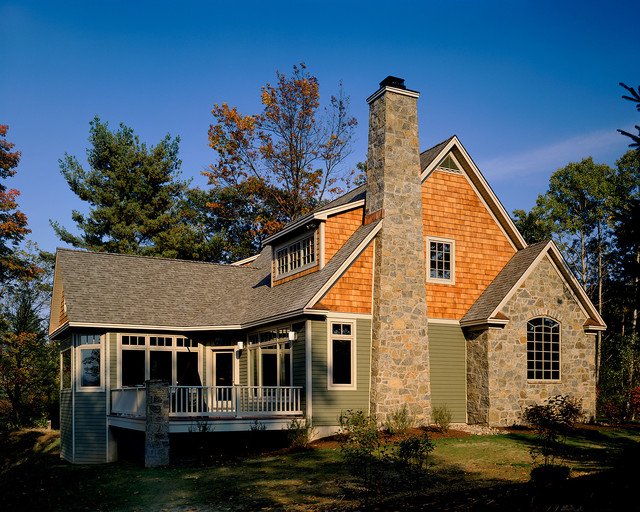 Cedar Shake Siding Exterior Rustic with Balustrade Cottage Deck French