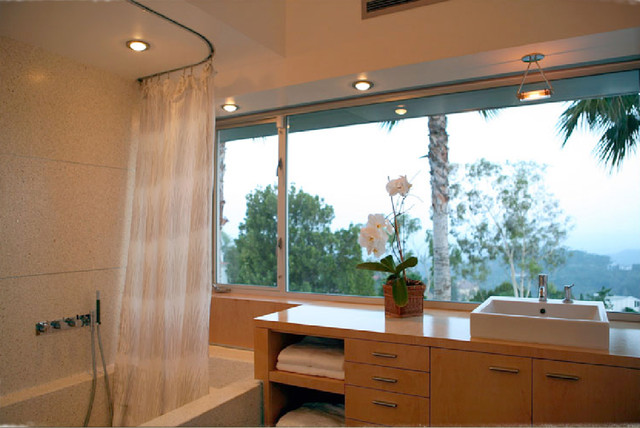 Ceiling Curtain Rod Bathroom Modern with Bath Bathtub Contemporary Curtain