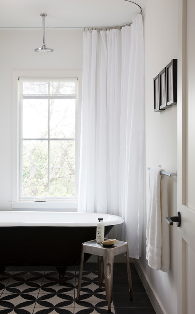 Ceiling Curtain Track Bathroom Scandinavian with Categorybathroomstylescandinavianlocationaustin
