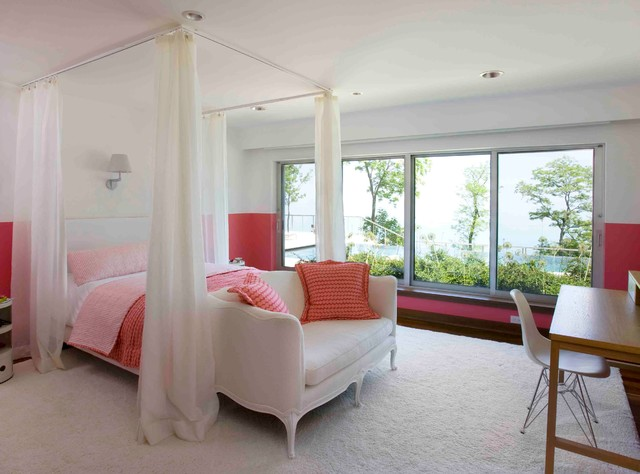 Ceiling Curtain Track Bedroom Eclectic with Bedding Bench Canopy Carpeting