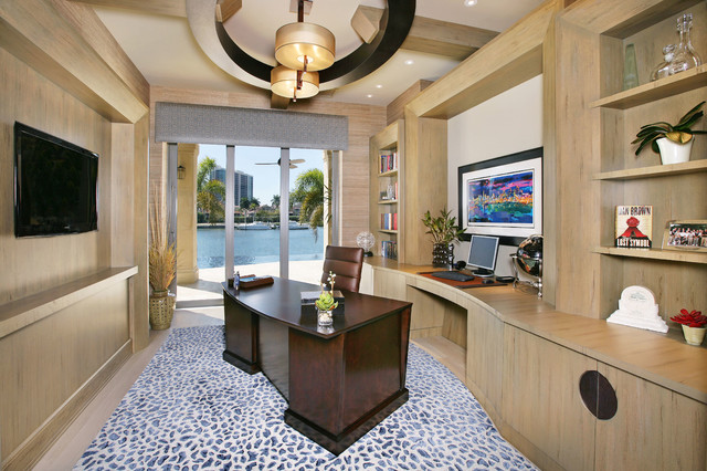 Ceiling Medallion Home Office Contemporary with Beige Ceiling Brown Leather
