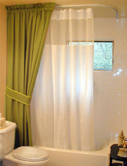 Ceiling Mount Curtain Rod Bathroom Traditional with Ceiling Mounted Shower Rod