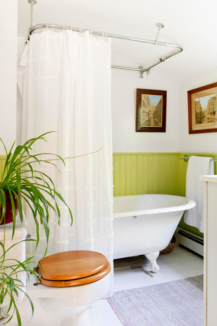 Ceiling Mount Curtain Rod Bathroom Victorian with Bright Green Beadboard Wainscoting