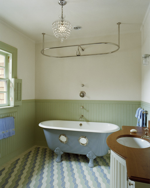 ceiling mounted curtain rods Bathroom Traditional with blue bathtub bow front