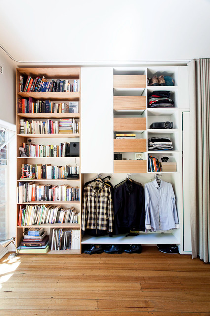 Ceiling Mounted Curtain Rods Closet Contemporary with Built in Book Shelves