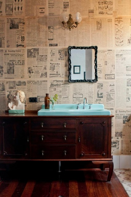 celebrity homes omaha Bathroom Eclectic with antique blue basin framed