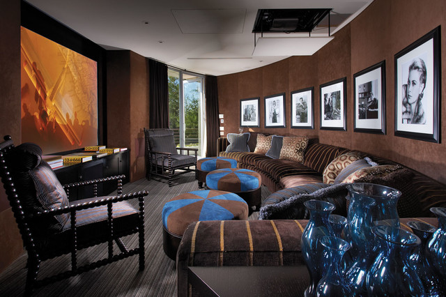 Celebrity Homes Omaha Home Theater Contemporary with Artwork Black and White
