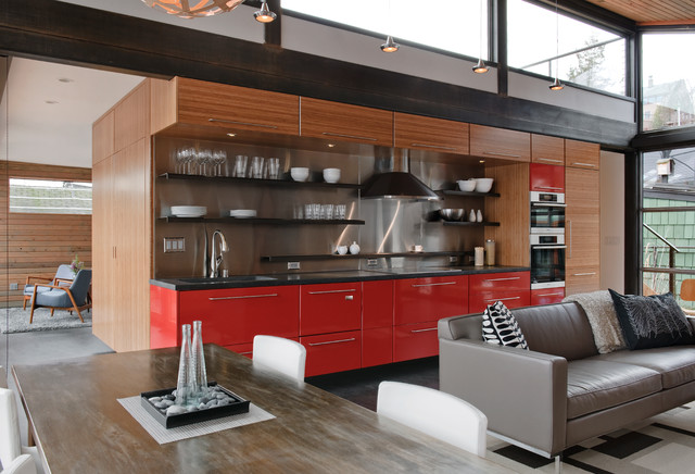 Celebrity Homes Omaha Kitchen Industrial with Area Rug Bamboo Cabinets
