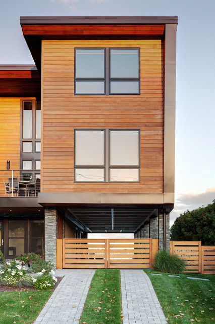 cement board siding Exterior Contemporary with beach house cable railing