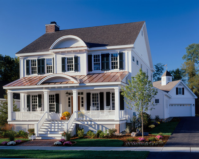 certainteed vinyl siding Exterior Traditional with black shutters brick path