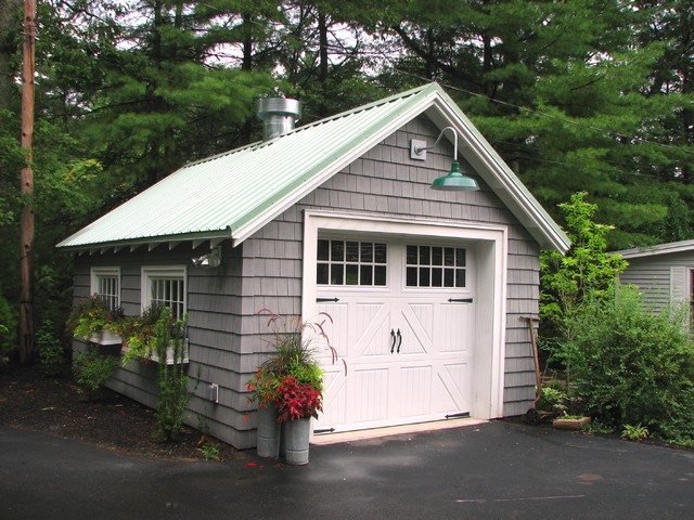 Certainteed Vinyl Siding Garage and Shed Traditional with Antique Lawnmower Barn Light