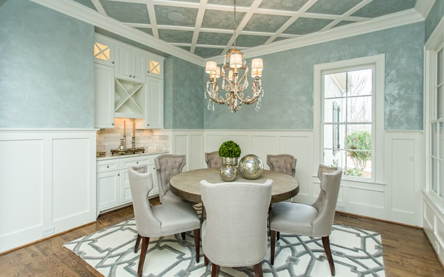 Chair Rail Height Dining Room Contemporary with Blue Textured Wall Blue