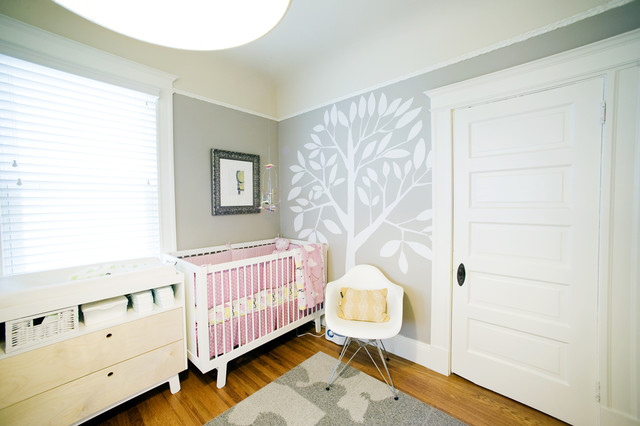 Chair Rail Height Nursery Eclectic with Area Rug Ceiling Lamp