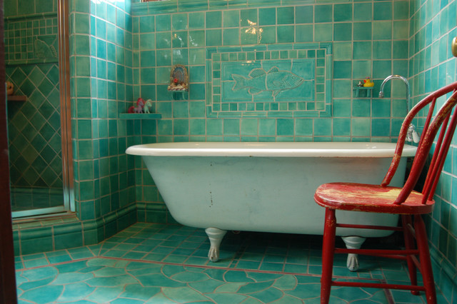 Chair Slipcover Bathroom Traditional with Accent Tiles Aqua Tiles