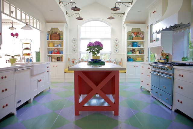 Chalk Paint Kitchen Cabinets Kitchen Beach with Arched Window Blue Oven