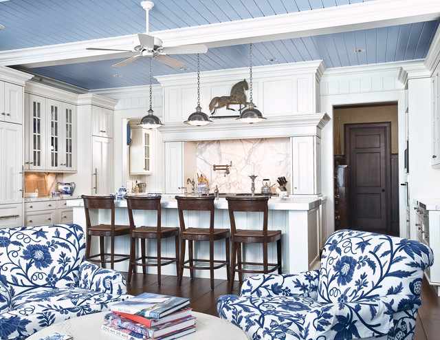 Chalk Paint Kitchen Cabinets Kitchen Traditional with Beachy Beadboard Blue Breakfast