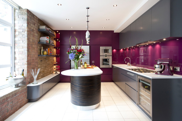 Champagne Flute Kitchen Contemporary with Exposed Brick Island Unit
