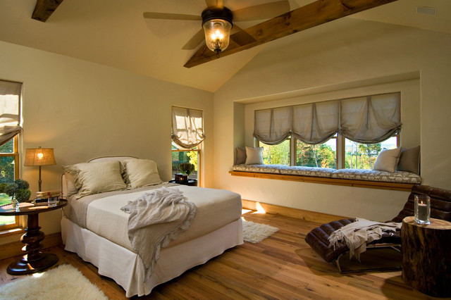 Chandelier Ceiling Fan Bedroom Rustic with Beams Bed Blinds Ceiling