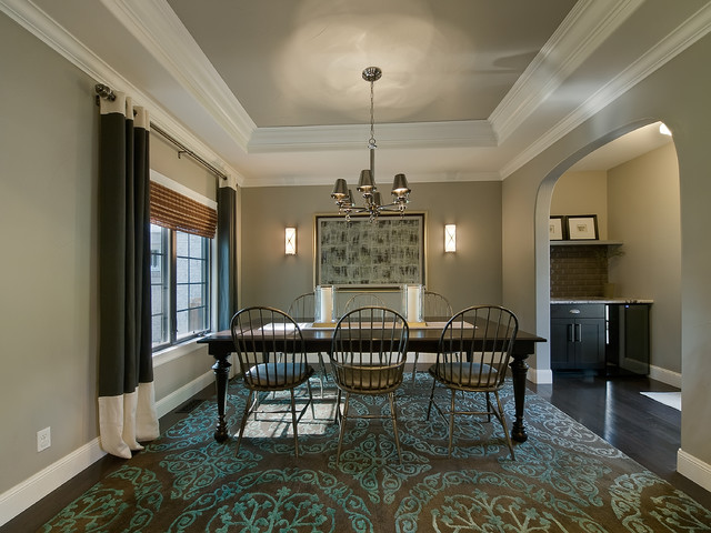 Chandra Rugs Dining Room Traditional with Archway Area Rug Baseboards