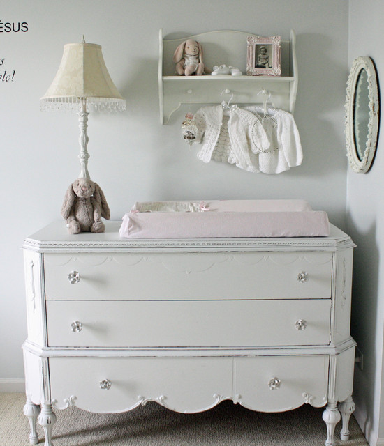 changing table dresser Nursery Shabby-chic with baseboard carpet changing table