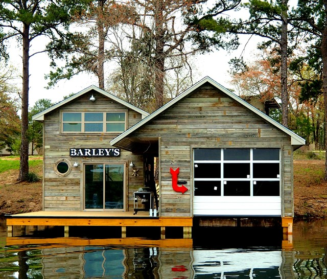 Charleston Homes Omaha Exterior Rustic with Barley Boat Boathouse Dock