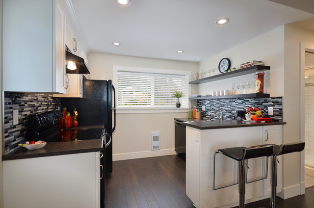 Cheap Backsplash Ideas Kitchen Contemporary with Basement Basement Kitchen Black