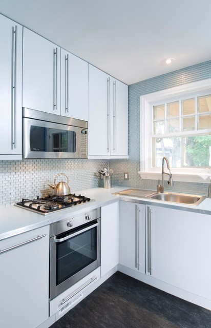 cheap backsplash ideas Kitchen Contemporary with blue backsplash tile built-in