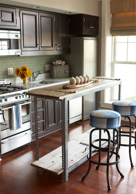 cheap barstools Kitchen Eclectic with blue barstools dark wood