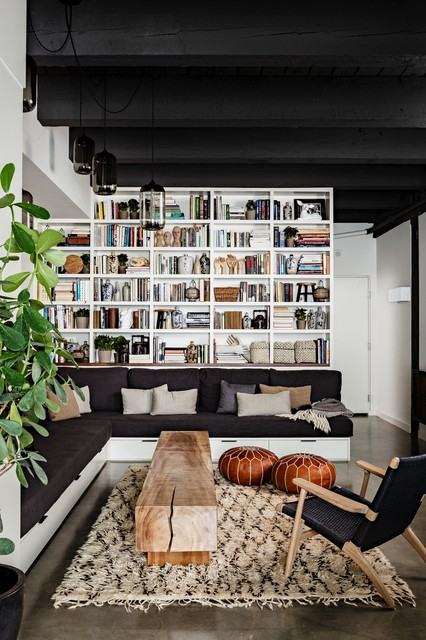 Cheap Shag Rugs Living Room Industrial with Black Ceiling Black Sofa