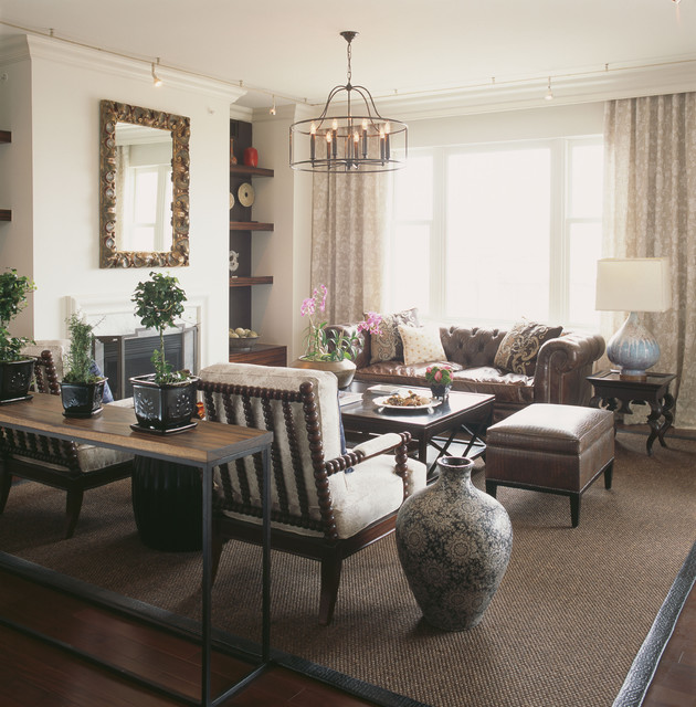 Chesterfield Sofa Family Room Contemporary with Area Rug Built In