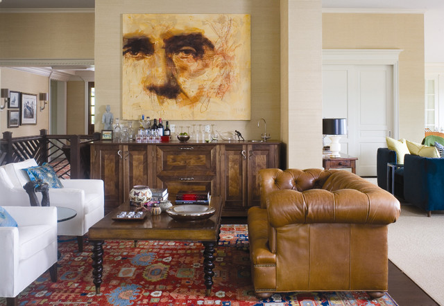 chesterfield sofa Family Room Traditional with accent colors area rug